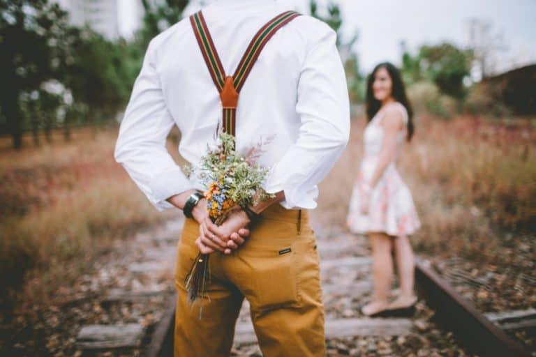 Man holding flower